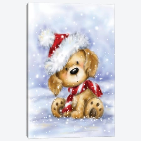 Dog With Santa's Hat I Canvas Print #MKK80} by MAKIKO Canvas Artwork