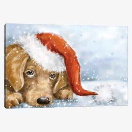 Dog With Santa's Hat II Canvas Print #MKK81} by MAKIKO Canvas Artwork