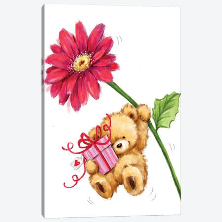 Bear and Big Flower Canvas Print #MKK8} by MAKIKO Canvas Wall Art