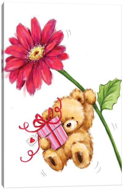 Bear and Big Flower Canvas Art Print