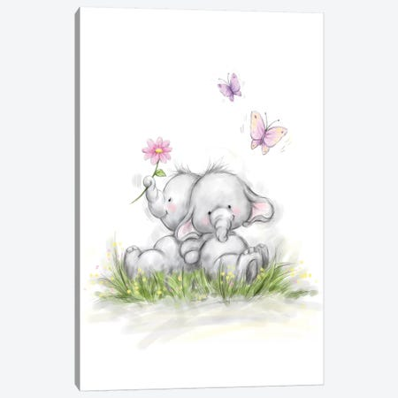 Elephant Couple Canvas Print #MKK90} by MAKIKO Canvas Print