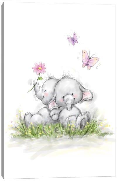 Elephant Couple Canvas Art Print