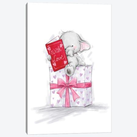 Elephant on Big Present Canvas Print #MKK91} by MAKIKO Canvas Art Print