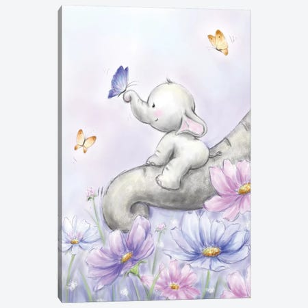 Elephant with Butterfly Canvas Print #MKK93} by MAKIKO Art Print