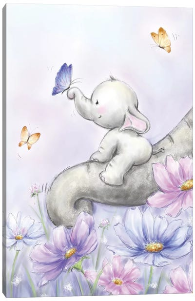 Elephant with Butterfly Canvas Art Print