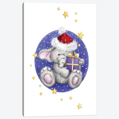 Elephant with present in Circle Canvas Print #MKK94} by MAKIKO Canvas Wall Art
