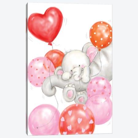 Elephants and Balloons Canvas Print #MKK95} by MAKIKO Canvas Artwork