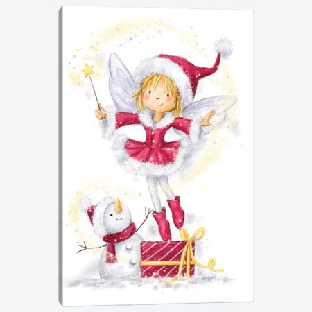 Fairy Girl with Snowman Canvas Print #MKK96} by MAKIKO Canvas Wall Art