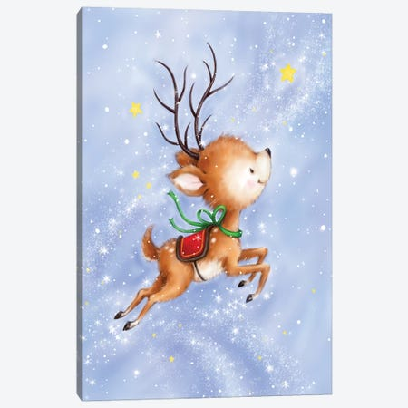 Flying Rudolph Canvas Print #MKK97} by MAKIKO Canvas Wall Art