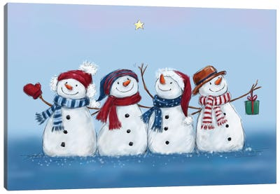 Four Snowmen Canvas Art Print