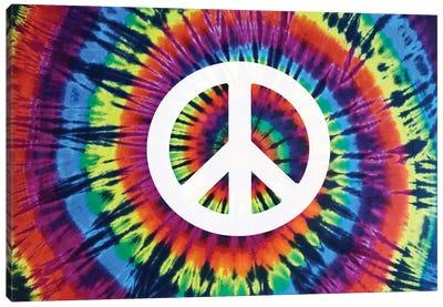 Tie Dye Rainbow Peace Sign Canvas Art Print