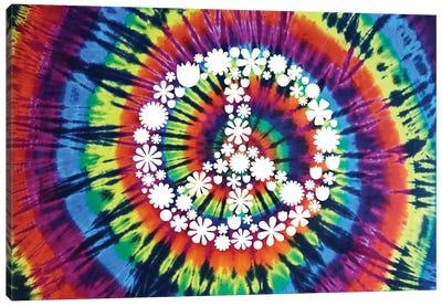 Tie Dye Rainbow Peace Sign II Canvas Art Print