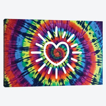 Tie Dye Rainbow Radiant Heart Canvas Print #MKN20} by Molly Kearns Canvas Art Print