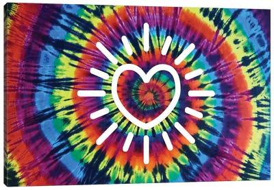 Tie Dye Rainbow Radiant Heart Canvas Art Print