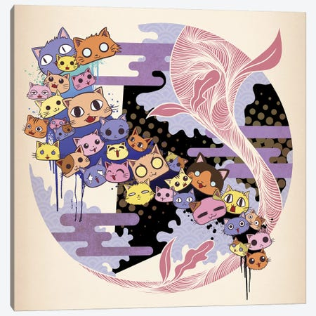Kitty Cat Night Canvas Print #MKS11} by 5by5collective Art Print