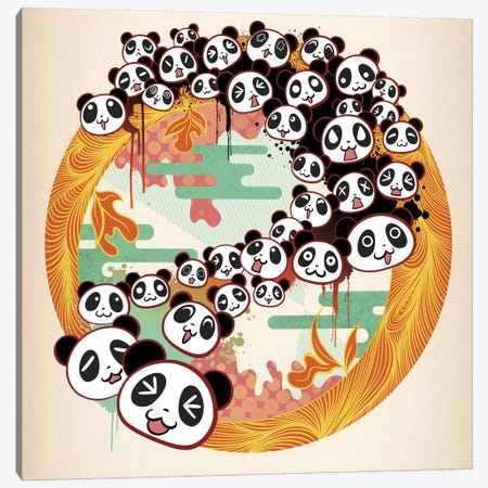 Panda Swirl Canvas Print #MKS12} by 5by5collective Art Print