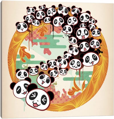 Panda Swirl Canvas Art Print
