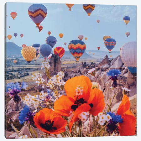 Flowers And Balloons Canvas Print #MKV139} by Hobopeeba Canvas Print