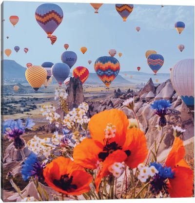 Flowers And Balloons Canvas Art Print
