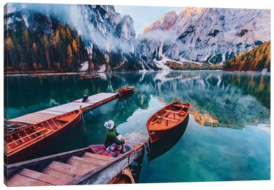 Boats On The Lake Canvas Art Print