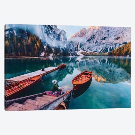 Boats On The Lake Canvas Print #MKV14} by Hobopeeba Canvas Print