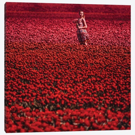 Red Sea Of Flowers Canvas Print #MKV152} by Hobopeeba Canvas Print