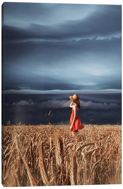 Wheat Fields And Thunderstorm Canvas Art Print