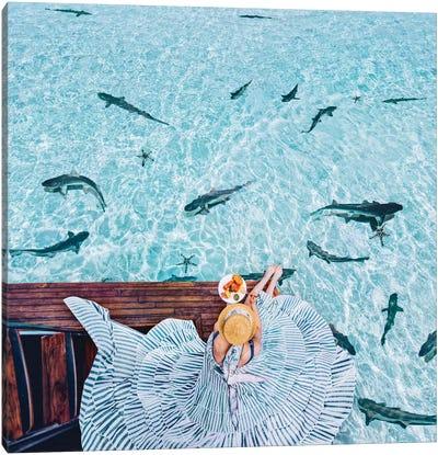 Breakfast With Sharks Canvas Art Print