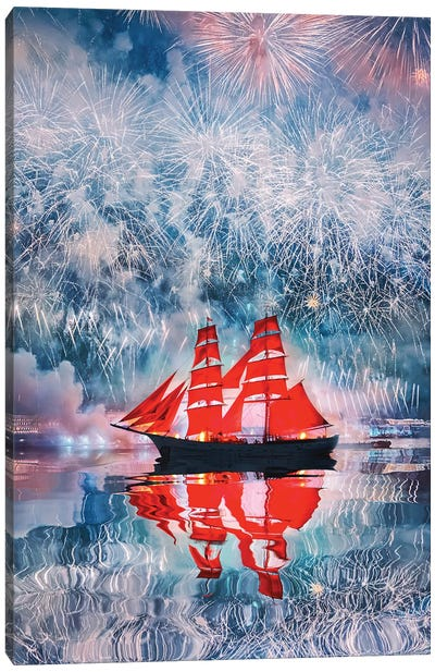 Scarlet Sails In St. Petersburg Canvas Art Print