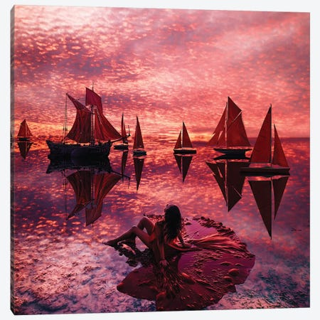 When It Is Hard To Choose Your Scarlet Sails Canvas Print #MKV173} by Hobopeeba Art Print