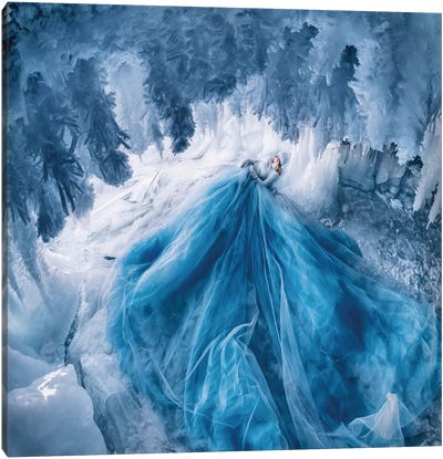 Ice Cave With Shaggy Icicles Canvas Art Print