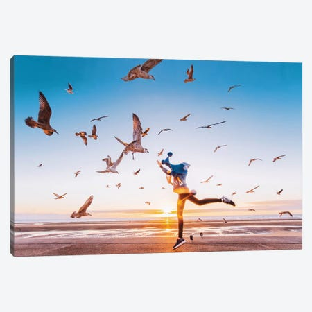 Fly Away 3-Piece Canvas #MKV31} by Hobopeeba Canvas Art