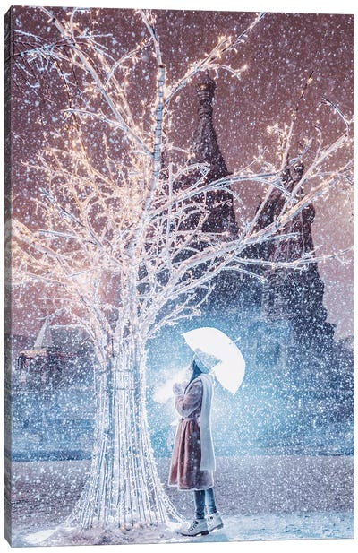 Magic Snowfall In Moscow Canvas Art Print