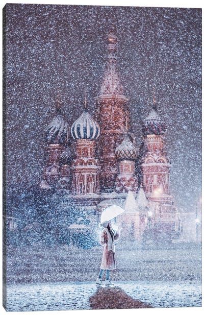 Moscow Snowfall Canvas Art Print