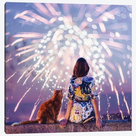 Night. Magic. Fireworks Canvas Print #MKV73} by Hobopeeba Canvas Art