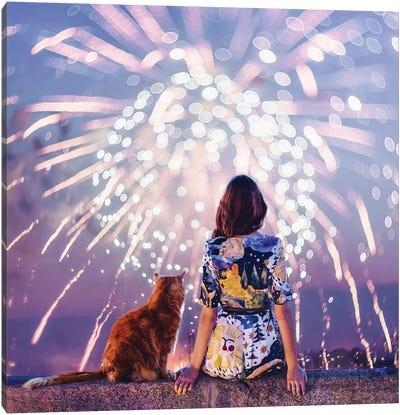 Night. Magic. Fireworks Canvas Art Print