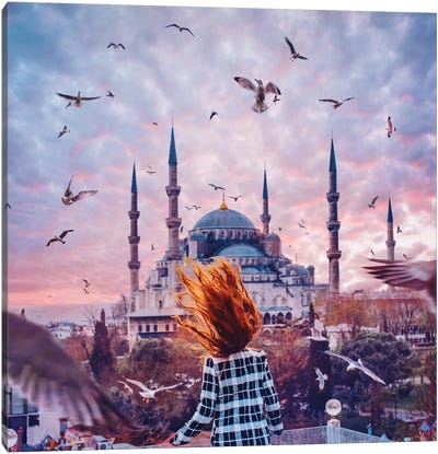 Red Fire In Istanbul Canvas Art Print