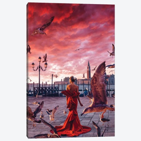 Red Morning In Venice Canvas Print #MKV85} by Hobopeeba Canvas Wall Art