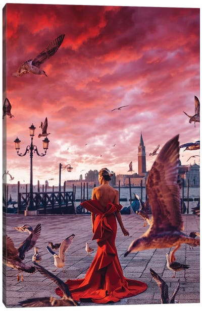 Red Morning In Venice Canvas Art Print