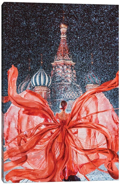 Red-Red-Red Red Square Canvas Art Print