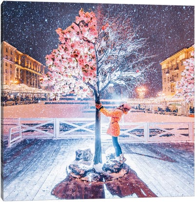Spring-Winter Tree Canvas Art Print