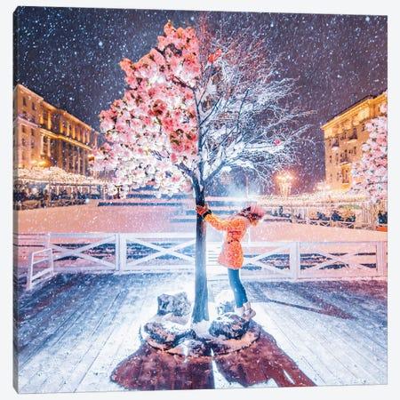 Spring-Winter Tree Canvas Print #MKV93} by Hobopeeba Canvas Artwork
