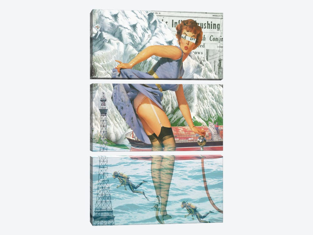 Pinup #8 by Marcel Lisboa 3-piece Canvas Art