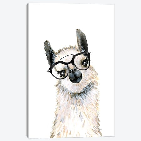 Llama With Glasses Canvas Print #MLC102} by Mercedes Lopez Charro Canvas Print