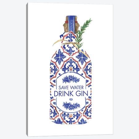 Save Water Drink Gin Canvas Print #MLC106} by Mercedes Lopez Charro Canvas Art