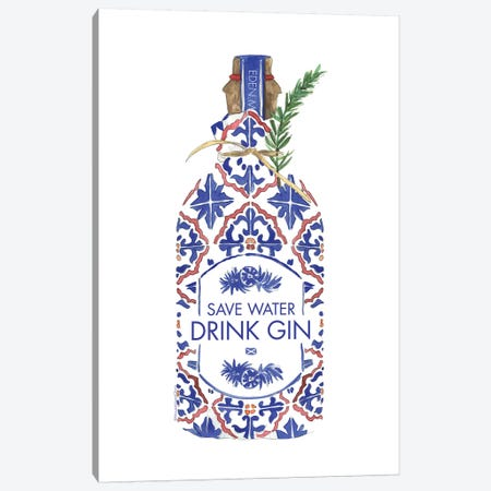 Save Water Drink Gin Canvas Print #MLC106} by Mercedes Lopez Charro Canvas Art