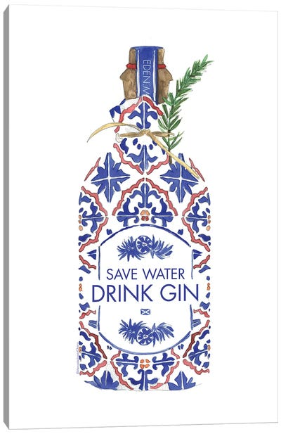Save Water Drink Gin Canvas Art Print