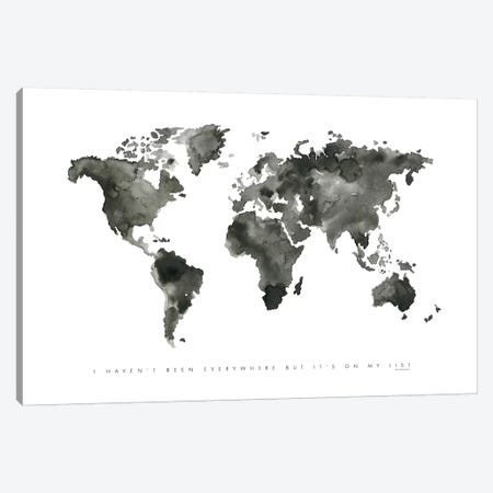World Map Monochrome Canvas Print #MLC115} by Mercedes Lopez Charro Canvas Art Print