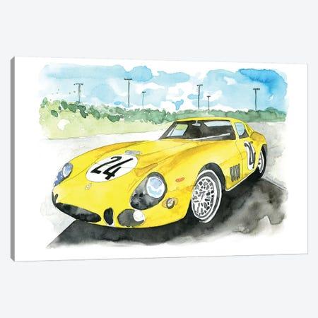 Yellow Sports Car Canvas Print #MLC116} by Mercedes Lopez Charro Canvas Art Print
