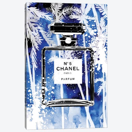 Blue Palms Chanel Canvas Print #MLC11} by Mercedes Lopez Charro Canvas Art